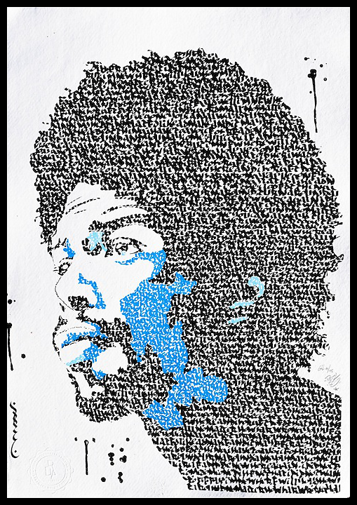 Gil Scott-Heron - Handmade serigraphy 3 colors on hand-crafted khadi paper 100 % cotton, 320 gr, format : 30 x 42 cm