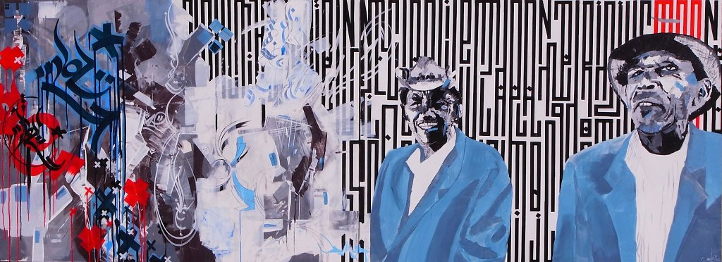 Double trouble - acrylic and ink on canvas ( dytique ) 120x300 cm