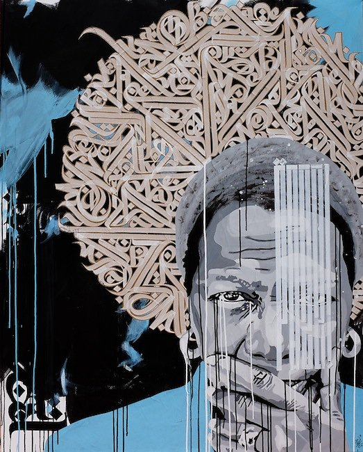 """Justice, knowledge, freedom"":acrylic, collage and ink on canvas: 150X120 cm-"