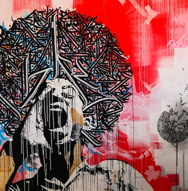 No name - Acrylic collage and ink on canvas 200x200 cm -SOLD OUT-