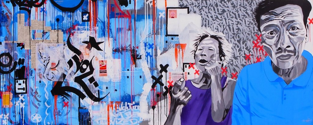 Dog's market - acrylic, collage and ink on canvas ( diptyque ) 120x300 cm