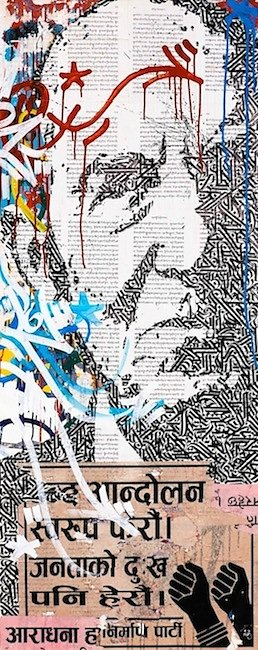 Indignez-vous! collage, acrylic and ink on canvas 150 X 60 cm