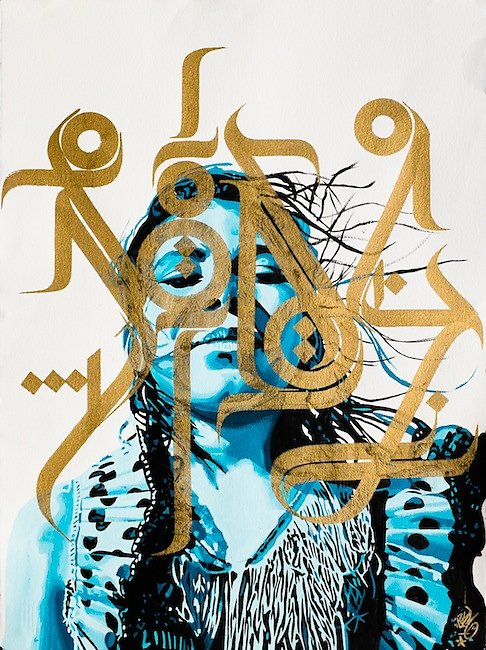 """Gipsy queen""-Acrylic and ink on Winsor and newton paper 320-76X56 cm-SOLD OUT-"